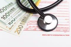 Sjukförsäkringreklamationsform Arkivbild