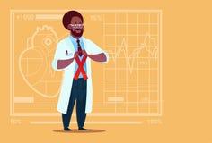 Sjukhus för arbetare för medicinska kliniker för förhindrande för sjukdom för afrikansk amerikandoktor Hold Cancer Ribbon vektor illustrationer