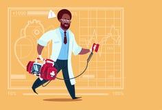 Sjukhus för Reanimation för arbetare för medicinska kliniker för afrikansk amerikandoktor Running With Defibrillator stock illustrationer