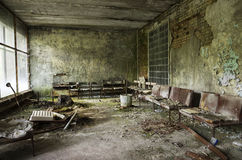 Sjukhus i den Pripyat staden som överges efter den Tjernobyl katastrofen Fotografering för Bildbyråer