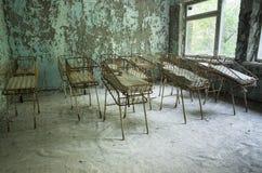 Sjukhus i den Pripyat staden som överges efter den Tjernobyl katastrofen Royaltyfri Bild