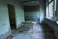 Sjukhus i den Pripyat staden som överges efter den Tjernobyl katastrofen Royaltyfria Foton