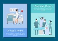 Sjukhus- och fungeringsrumvektorillustration stock illustrationer