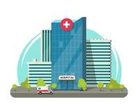 Sjukhus som bygger den isolerade vektorillustrationen, det modern sjukhuset för plan tecknad film eller klinikclipart stock illustrationer