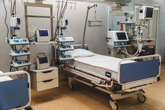 Sjukhusakutmottagningintensivvård modern utrustning, begrepp av sund medicin, behandling, sjukhuspatientbehandling, hjälp royaltyfri fotografi