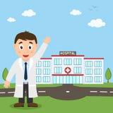 Sjukhusbyggnad och manlig doktor för vit vektor illustrationer