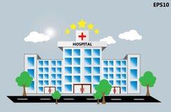 Sjukhusbyggnadssymbol med molnet och trädet stock illustrationer