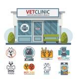 Sjukhuset, kliniken eller älsklings- för veterinär- medicin shoppar för djur vektor illustrationer
