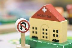 Sjukhuset träToy Set och inget återgångt tecken - spela fastställda Educationa Arkivbild