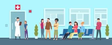 Sjukhuskö Patient för medicinsk för kontor för väntande rum för klinikmottagande vuxen för sjuksköterska doktor för receptionist  stock illustrationer