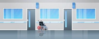 Sjukhuskorridorkorridor med tom medicinsk utrustning för rullstol inget inre plant horisontalbaner för folkklinik stock illustrationer