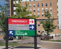Sjukhusriktningstecken Fotografering för Bildbyråer