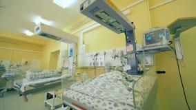 Sjukhussängar för barn, slut upp Nyfött behandla som ett barn är i sängar på ett klinikrum stock video