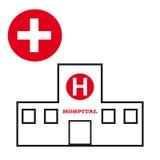 Sjukhussymbol på vit bakgrund Stock Illustrationer
