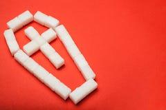 Sjuklig mat, mycket socker i mat Byten och blytak till sjukdomen arkivbild