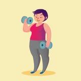 Sjukligt fet ung kvinna med den roliga tecknad filmillustrationen för hantlar Royaltyfri Fotografi