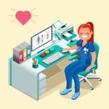 Sjuksköterska eller kvinnlig doktor Cartoon Isometric People vektor illustrationer