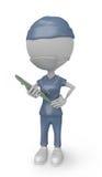 sjuksköterska för vitt folk 3D med maskeringen royaltyfria foton