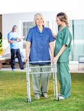 Sjuksköterska Helping Senior Woman som använder att gå ramen in royaltyfri bild