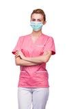 Sjuksköterska med munskydd Fotografering för Bildbyråer