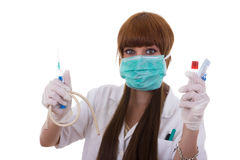Sjuksköterska med tillbehör Royaltyfria Bilder