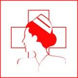 sjuksköterska Sjuksköterskahuvud Sjuksköterska Icon Sjuksköterskasidosikt stock illustrationer