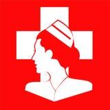 sjuksköterska Sjuksköterskasidosikt Sjuksköterska Icon Sjuksköterskahuvud stock illustrationer