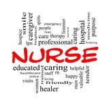 Sjuksköterska Word Cloud Concept i röda lock Arkivfoto