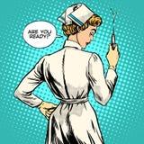 Sjuksköterskan gör en skottvaccinering stock illustrationer