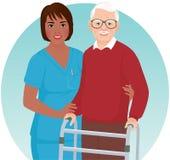 Sjuksköterskan hjälper den äldre patienten stock illustrationer