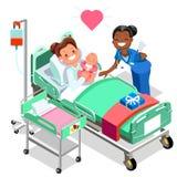 Sjuksköterskan med behandla som ett barn den doktors- eller sjuksköterskaPatient Isometric People tecknade filmen Stock Illustrationer