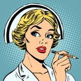 Sjuksköterskan skriver diagnos royaltyfri illustrationer