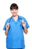 sjuksköterskaståendesmiley royaltyfria bilder