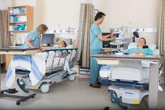 Sjuksköterskor som att bry sig för patienter i PACU Royaltyfri Bild