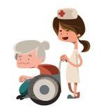 Sjuksköterska som hjälper det gamla teckenet för farmorillustrationtecknad film Royaltyfri Foto
