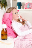 Sjukt barn hemma Royaltyfri Foto