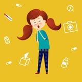 Sjukt barn med feber och sjukdom Ungelåsförkylning Unga flickan fick influensa och att hosta Sjukdomsymthtompsvektor stock illustrationer