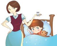 Sjukt barn som ligger i säng och moder med medicin Arkivbild