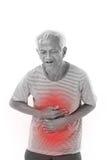 Sjukt gamal manlidande från diarrén, indigestive problem royaltyfri fotografi