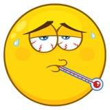 Sjukt gult tecknad filmSmiley Face Character With Tired uttryck och termometer royaltyfri illustrationer