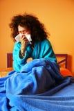 Sjukt i säng. Royaltyfria Foton