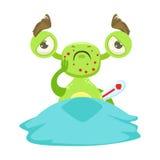 Sjukt roligt monster med feber i säng, grön klistermärke för tecken för främlingEmoji tecknad film stock illustrationer