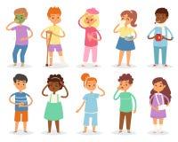 Sjukt ungevektorbarn med huvudvärk och temperatur och barn som fångar en förkylning- eller influensaillustrationuppsättning av sj vektor illustrationer