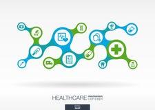 Sjukvård Abstrakt bakgrund för tillväxt med förbindelsemetaball och inbyggda symboler stock illustrationer