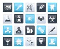 Sjukvård-, medicin- och sjukhussymboler över färgbakgrund stock illustrationer