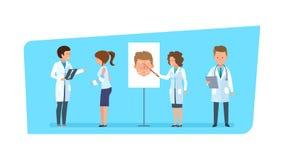 Sjukvård och medicinsk hjälp Att tala för doktorer diagnostiserar och medicinmaterial royaltyfri illustrationer