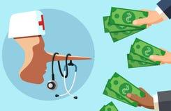 Sjukvårdbedrägerit och fördärvar doktorsbegrepp Ohederlig läkare som ser många händer med pengar vektor illustrationer