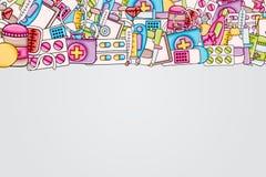 Sjukvårdbegrepp i stil för tecknad film 3d Klotterbakgrundsdesign vektor illustrationer