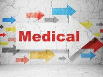 Sjukvårdbegrepp: pil med läkarundersökning på grungeväggbakgrund Arkivbild