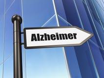 Sjukvårdbegrepp: tecken Alzheimer på byggnadsbakgrund Arkivbild